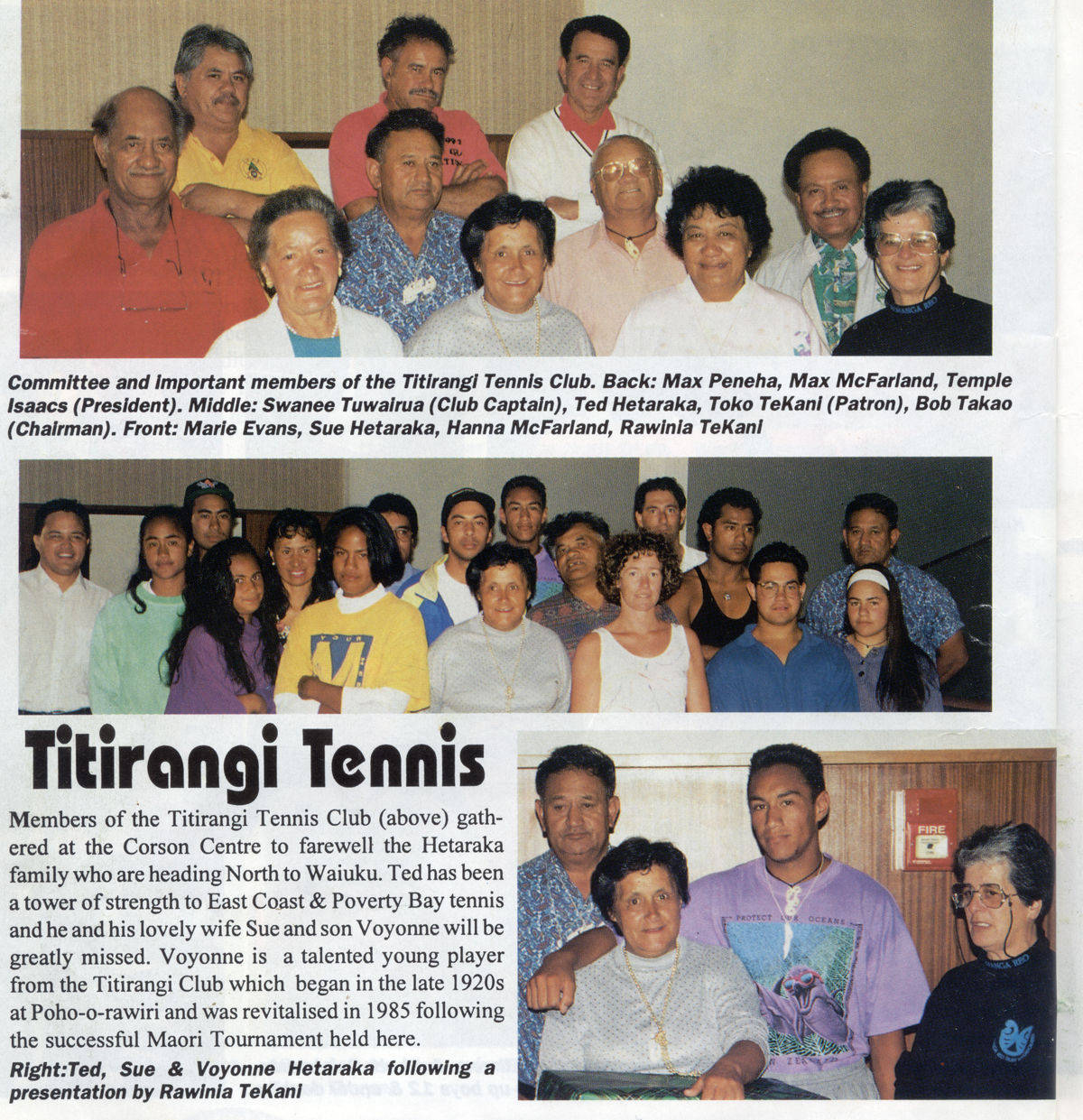 Titirangi Tennis Club - Farewell to Hetaraka whanau