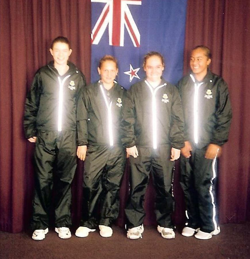 Kataraina Hunia (2nd from right) NZ 12/U team v Australia in Dunedin