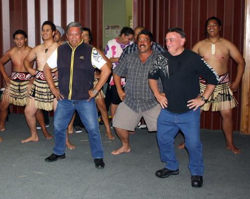 AMTA Hamilton -Boy Wharepapa, Kevin Neil, Dick Garratt - leading the haka