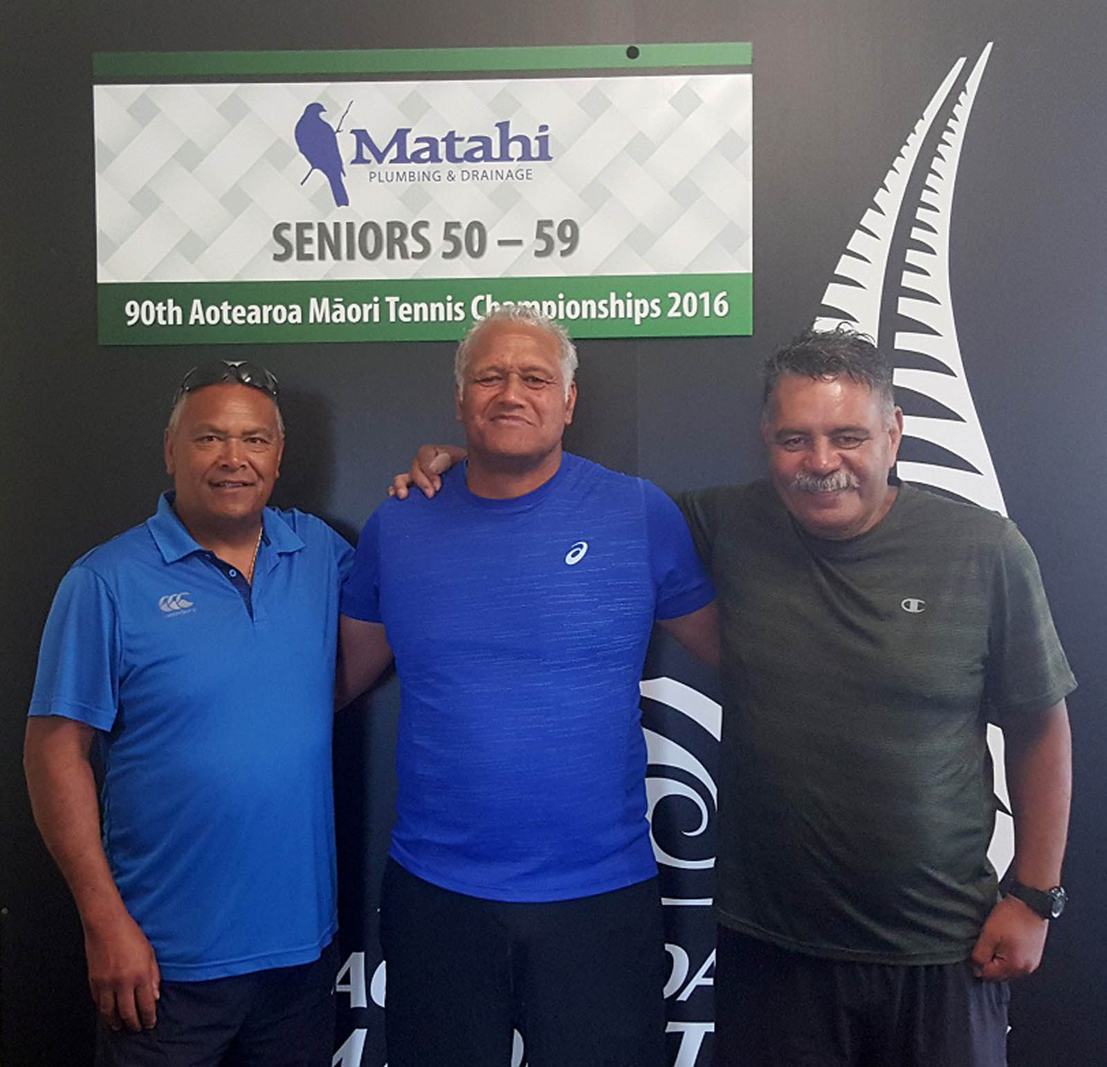 50-59 Mens Doubles Winners - Winner, Albie Tipiwai with sponsor Richard Boynton and Winer, Jeremy Wichman 50-59