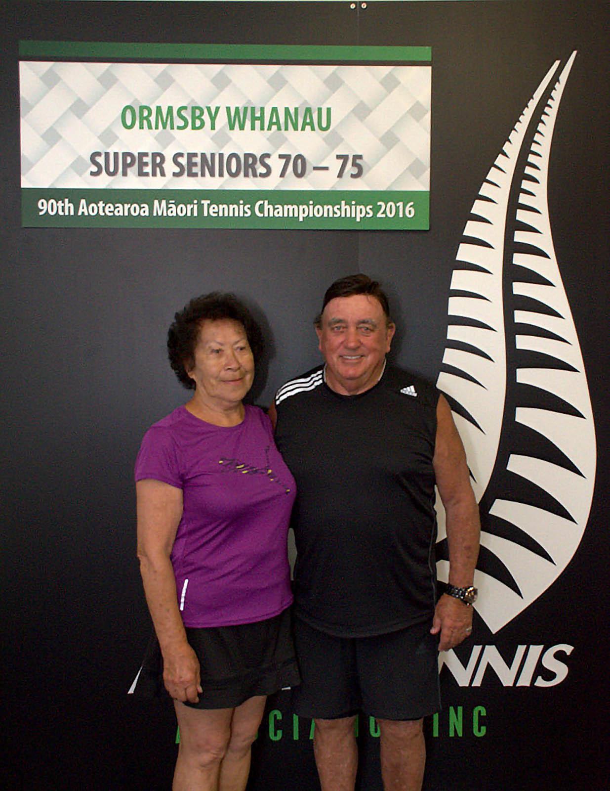 70+ Mixed Doubles Winners - Mary Durham and Tikirau Garratt