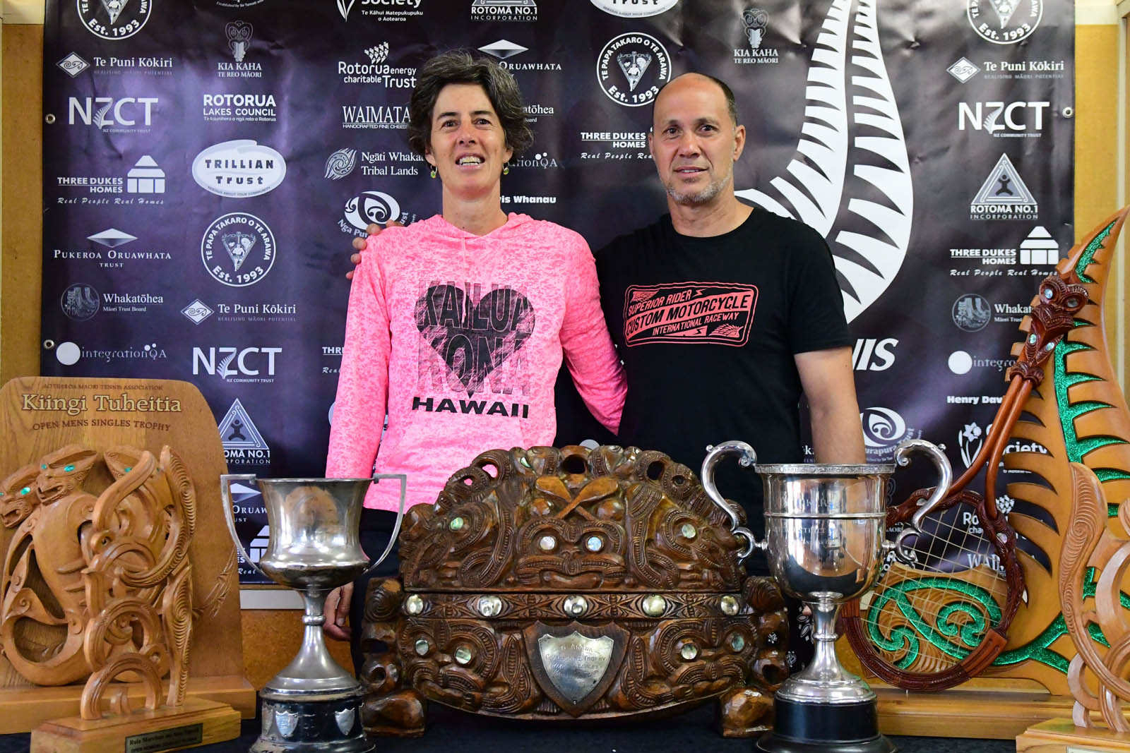 Ngāti Whakaue Tribal Lands Ltd 50-59 Mixed Doubles Winners Wynel George and Richard Kapa