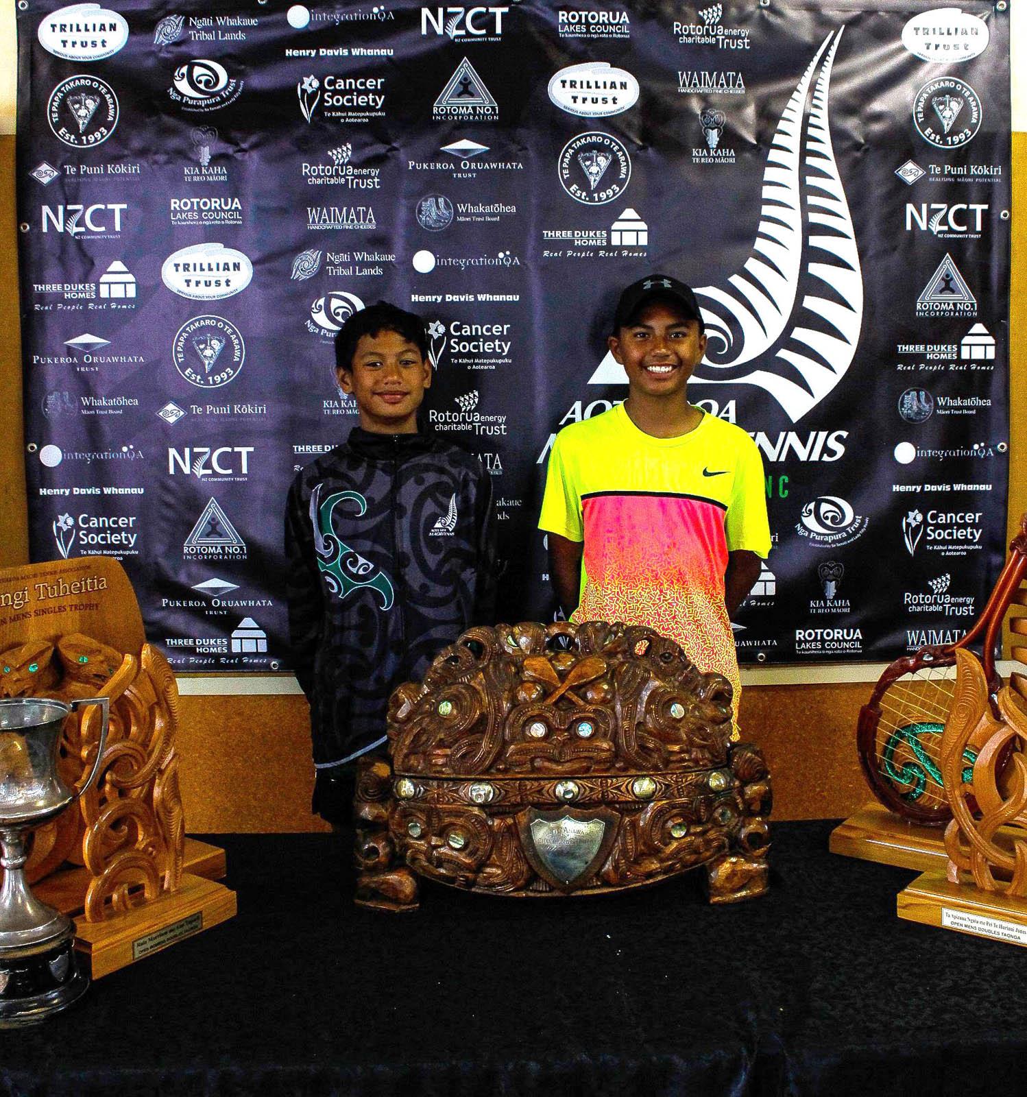 Te Papa Takaro o Te Arawa 10 Boys Doubles Winners Cruz Bryce and Nikau Going
