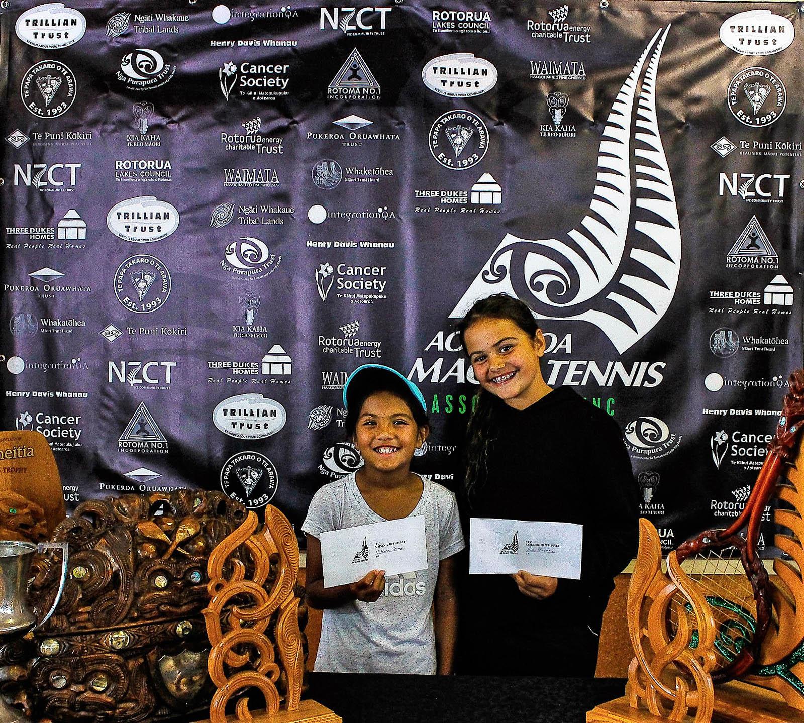Te Papa Takaro o Te Arawa 10 Girls Doubles Winners Vienna Waerea-Tamai and Rosa Hingston