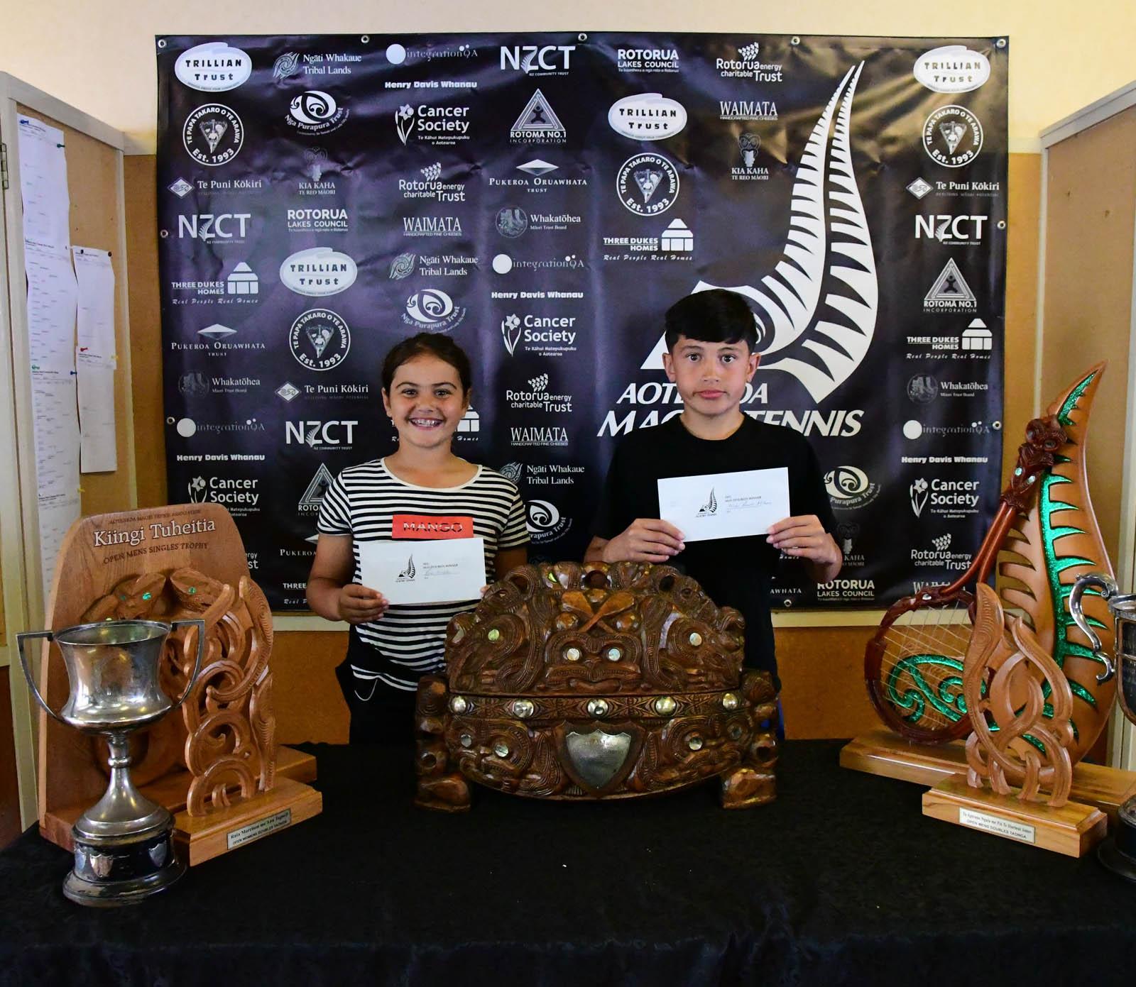 Te Papa Takaro o Te Arawa 10 Mixed Doubles Winners Rosa Hingston and Nirai Raureti