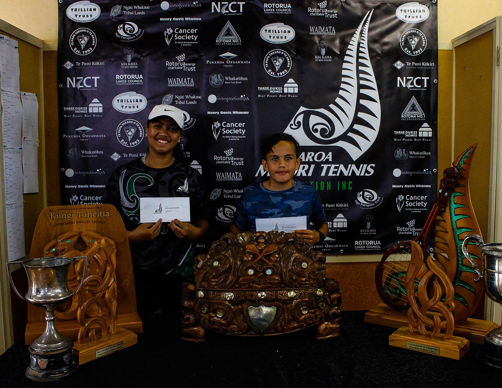 Te Papa Takaro o Te Arawa 12 Mixed Doubles Winners Nikau Going and Zeeah Waerea-Tamai