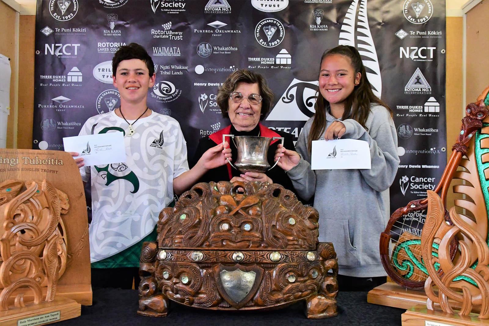 Te Papa Takaro o Te Arawa 14-16 Mixed Doubles Winners Tamati Peter and Tamara Teua